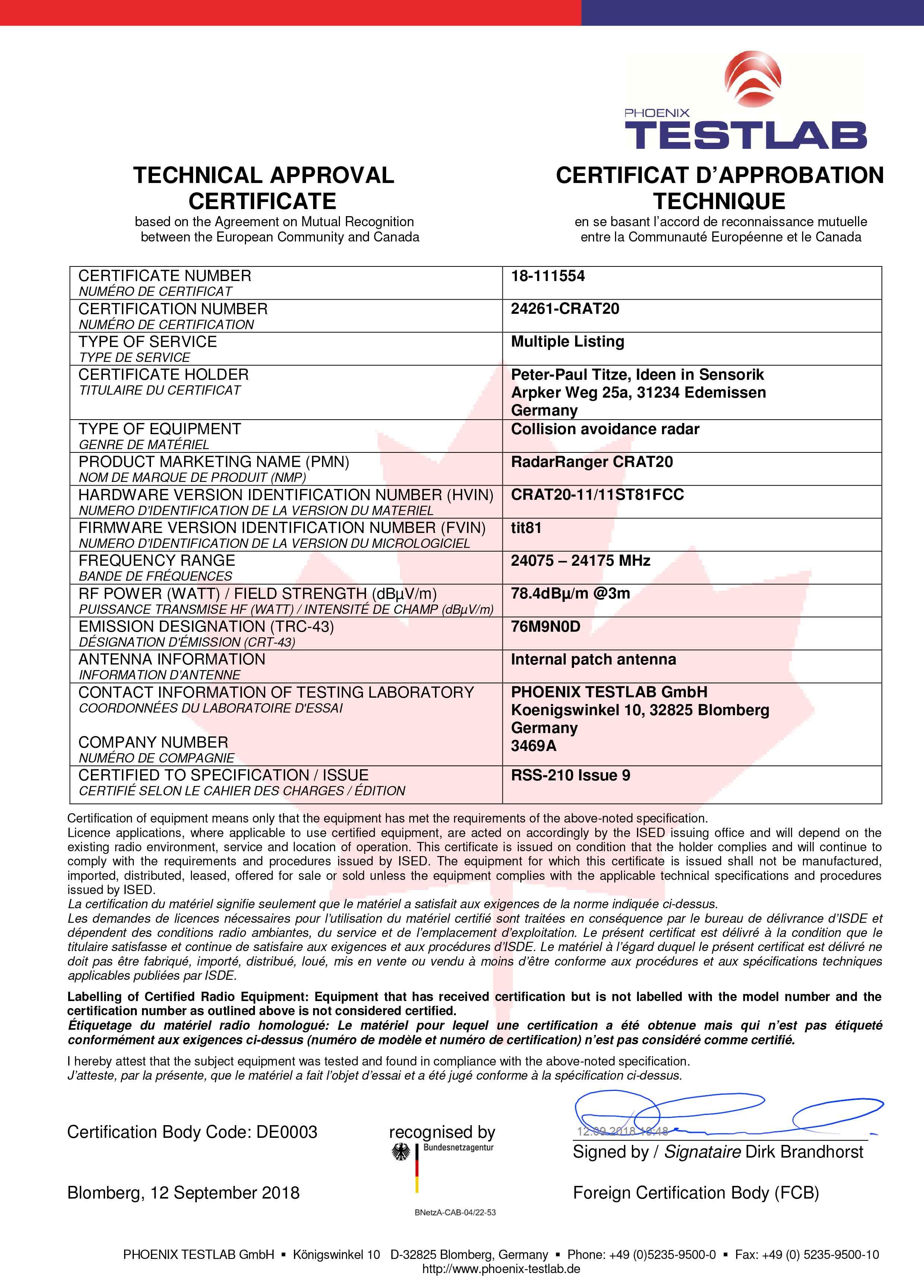 Industria 40 Titze Certificati Ulcsa Per Radar Anticollisione